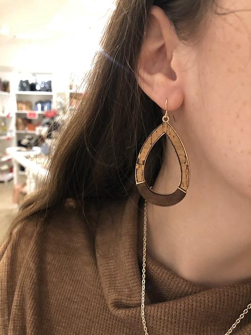 Teardrop Cork Wood Earrings