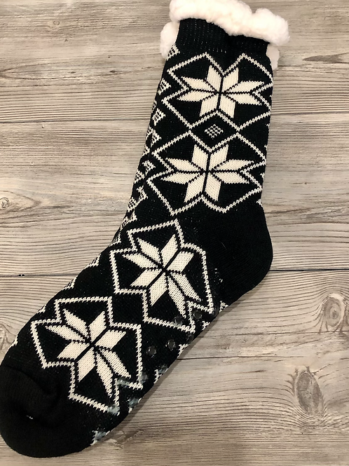 Black and White Snowflake Socks