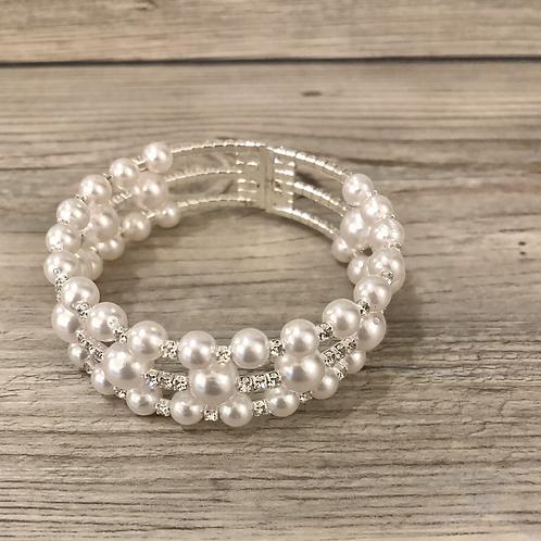 Memory Wire Pearl Bracelet