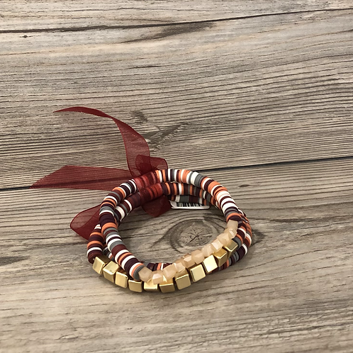 Three Stackable Red Bracelets