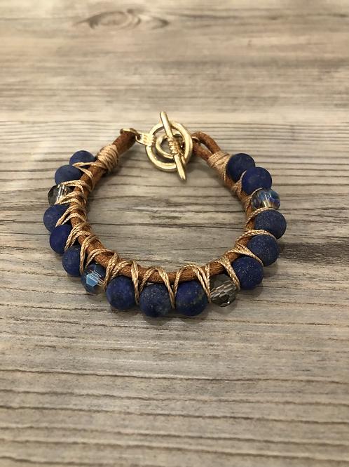 Blue Stone and Bead Bracelet