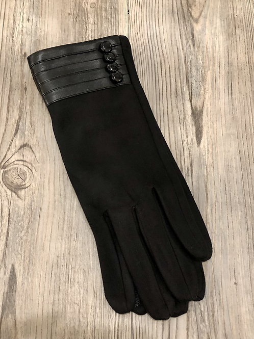 Black Touch Gloves with Leather Detail