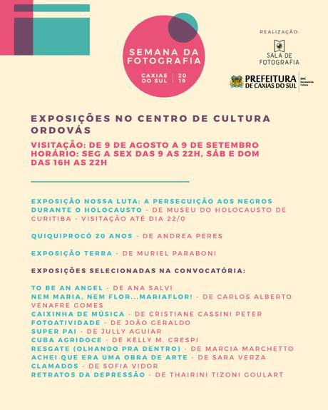 A lista de todas as exposições da Semana da Fotografia de Caxias do Sul 2019