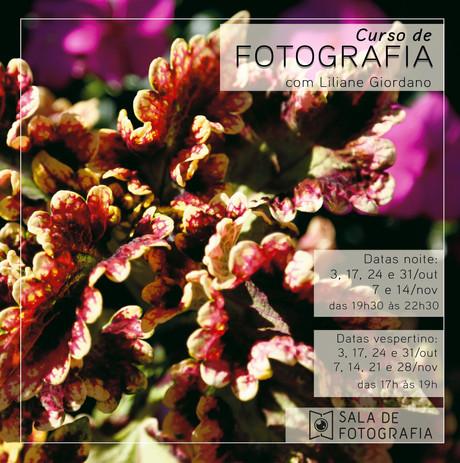Em outubro, também tem turma do curso de fotografia no vespertino!