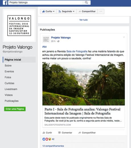Sala de Fotografia na página do Projeto Valongo