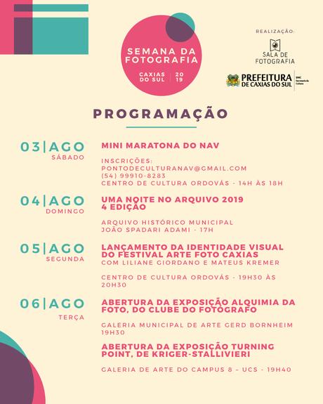 Confira aqui a programação da Semana da Fotografia de Caxias do Sul 2019!