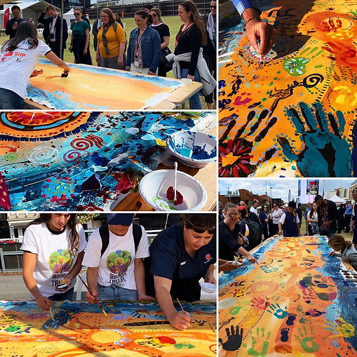 Reconciliation Week 2019, painting collaborations, Jilalga Designs, Jilalga Murray, Reconciliation WA, Grounded in Truth