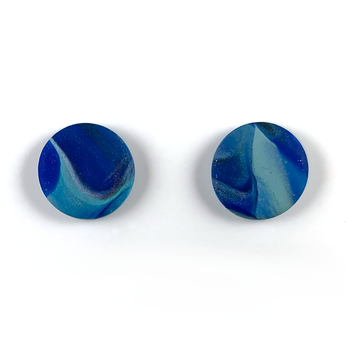 'Deep Waters' Polymer Clay Studs