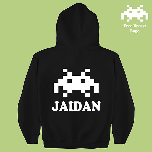 Retro Gaming Space Invader Personalized Kids Hoodie