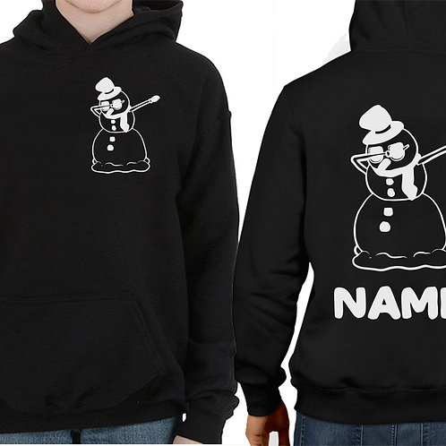 Boys & Girls Dabbing Snowman Personalized Christmas Jumper Hoodie Gift