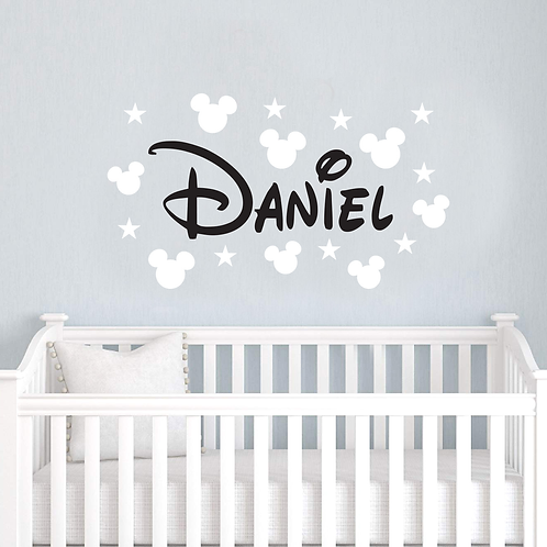 Mickey Mouse & Stars Personalized Wall Decal