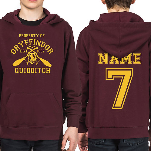 Kids Property Of Gryffindor Hoodie Personalized Name & Number Quidditch Team Top