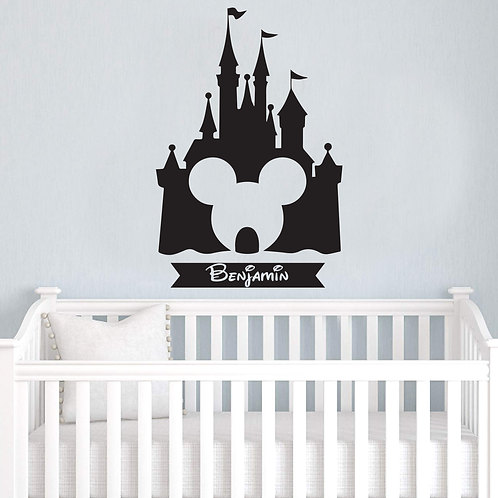 Mickey Mouse Castle Personalized Wall Art Decal