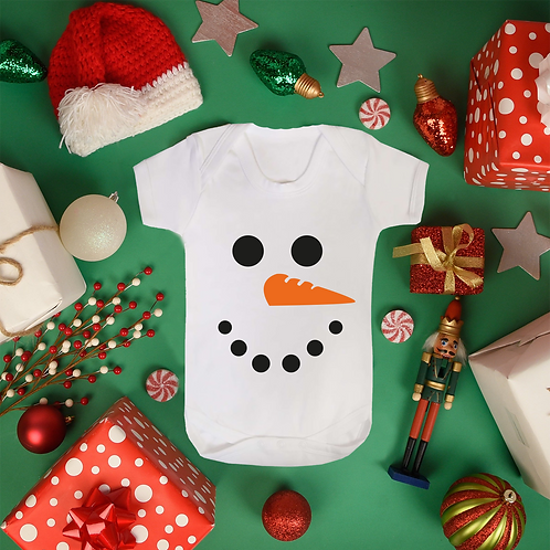 Original Snowman Baby Vest Heavyweight 100% Soft Cotton Christmas Gift