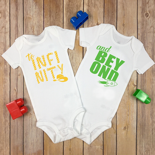 New Twins Baby Vests To Infinity & Beyond Woody & Buzz Present Gift