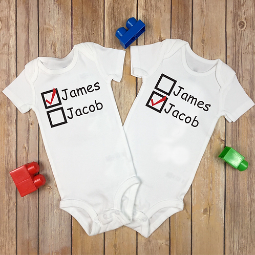 New Born Twins Which is Which Personalized Name Baby Vests Two