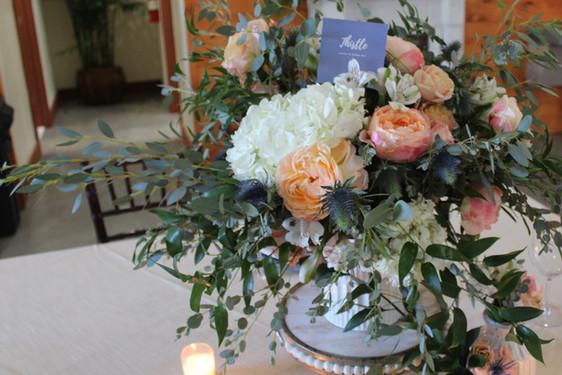 Beach and White flower wedding decoration Thistle Flower Bar