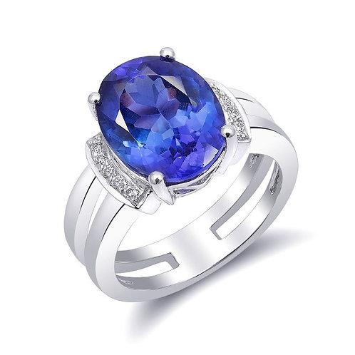 18k White Gold 5.53ct TGW Blue Tanzanite and White Diamond Ring