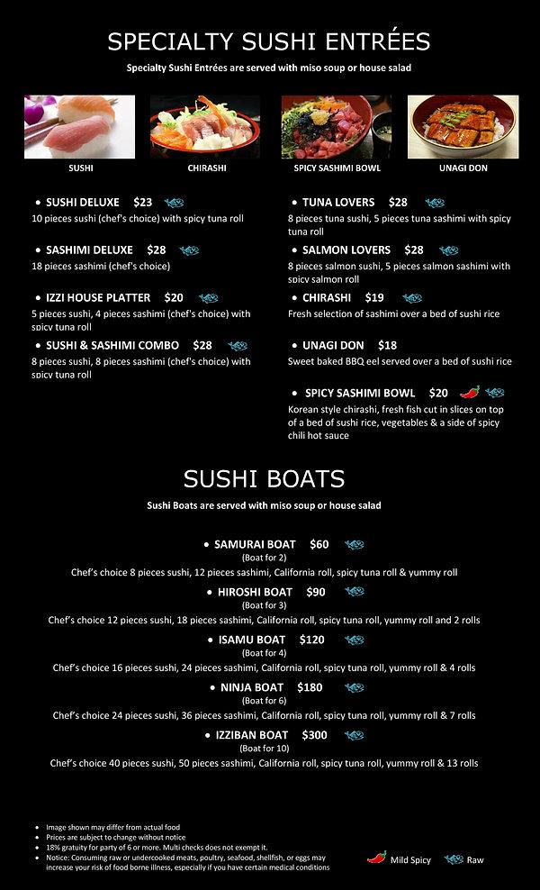 Izziban Sushi Specialty Sushi Entrees-pa
