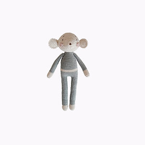 Mouse Organic-Cotton Toy baby blue