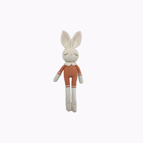 Bunny Organic-Cotton Toy terracotta jumpsuit