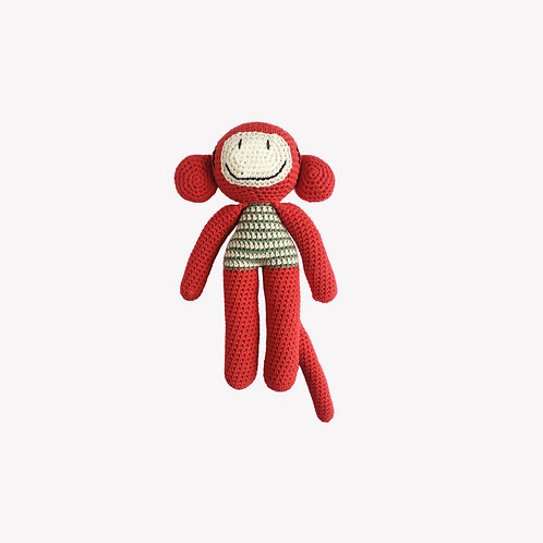 Monkey Organic-Cotton Toy - red