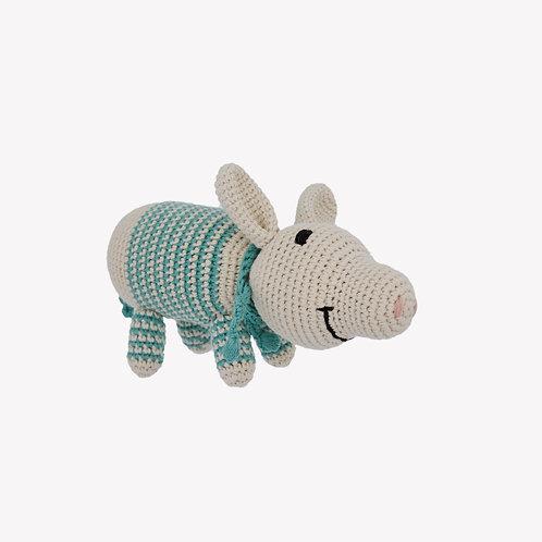 Pig Organic-Cotton Toy - green striped