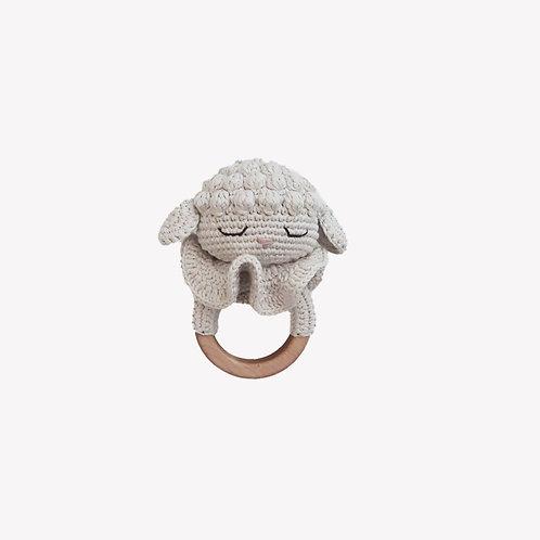 Lamb Organic-Cotton Teeting Ring - ecru