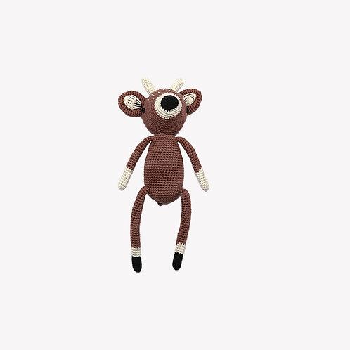 Reindeer Organic-Cotton Toy - brown