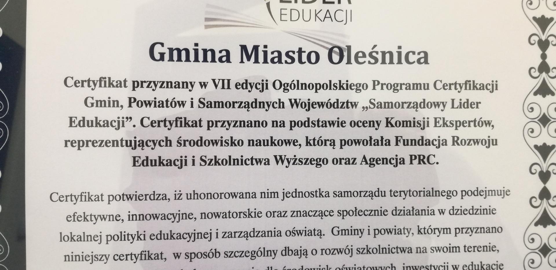 Oleśnica Samorządowym Liderem Edukacji