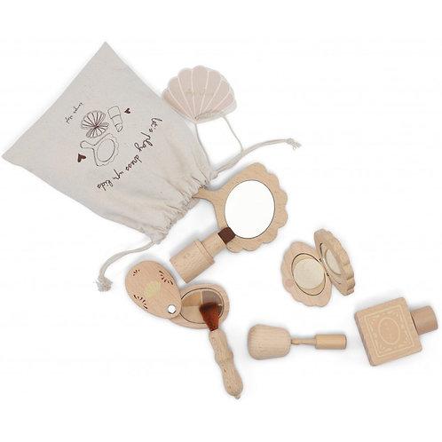 Houten 7-delig make-up set