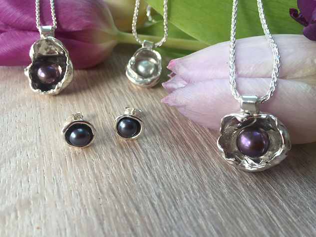 Watercast Silver Pendants and Earrings with Freshwater Cultured Pearls