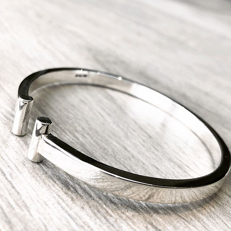 Heavy Sterling Silver T-Bar Bangle