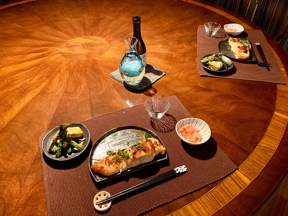 Beautiful Japanese dishes and the table decoration