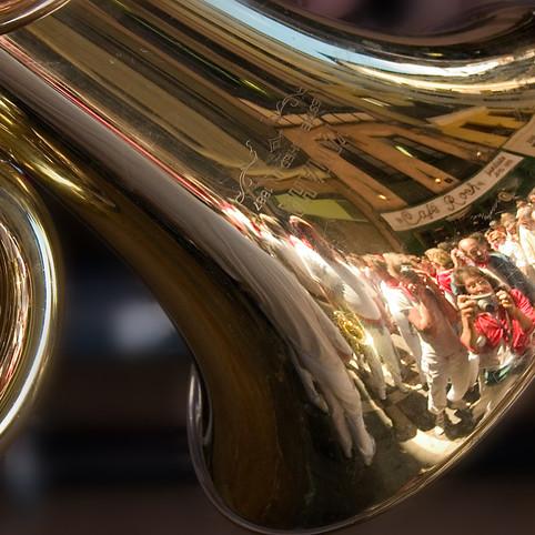 Photographes dans une trompette