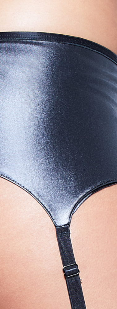 Leather Look Suspender Belt Close Up