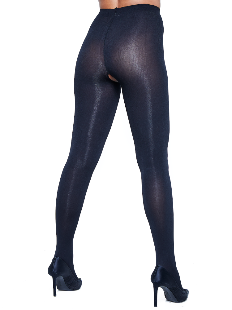 Blackout Crotchless Tights