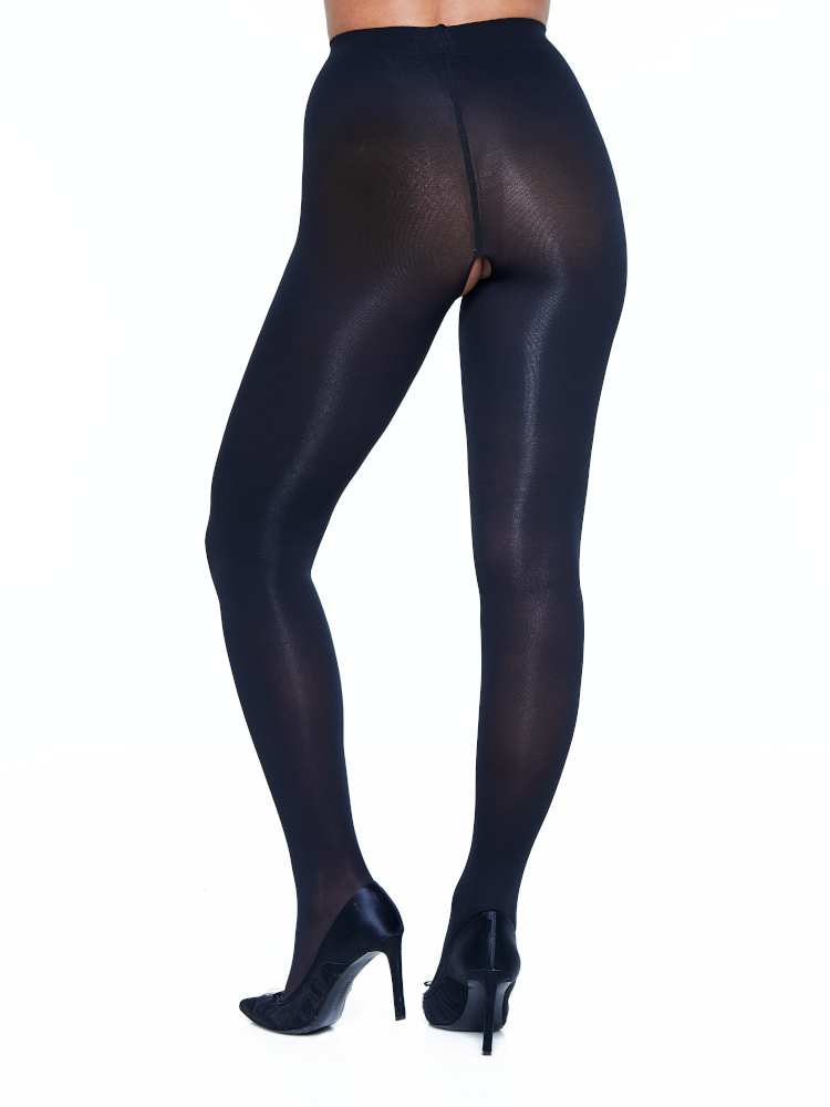 Opaque Crotchless Tights