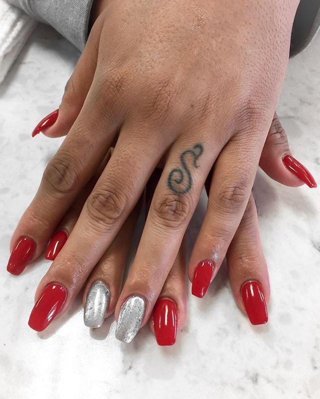 #rednails #silvernails #glitter #hotred