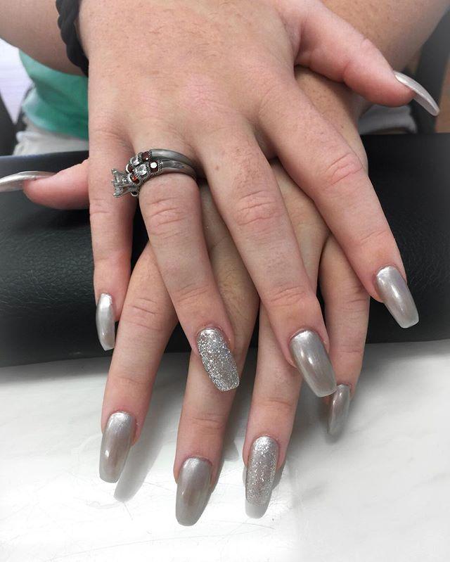 #silvernails #nails💅 #coffinnails #glit