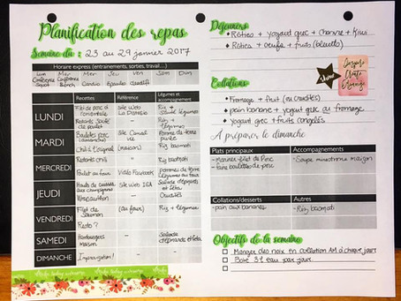 Planification repas, semaine du 23 janvier 2017