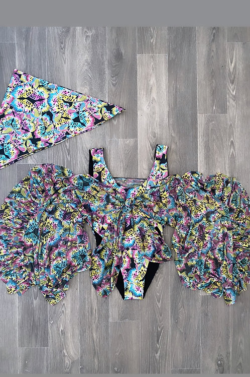 The ruffle mesh swimsuit