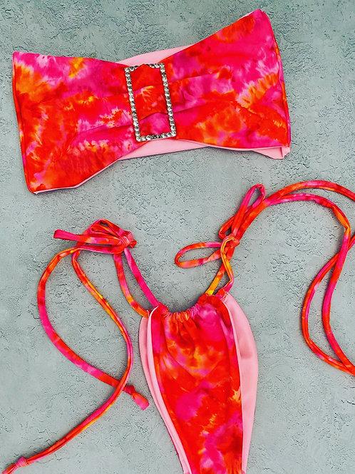 Ready to ship diamanté tie dye bikini