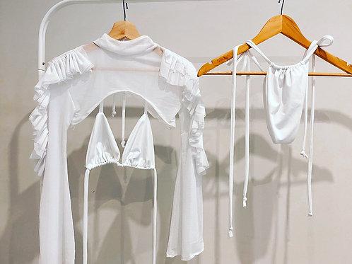 The ruffle sleeve mesh bikini
