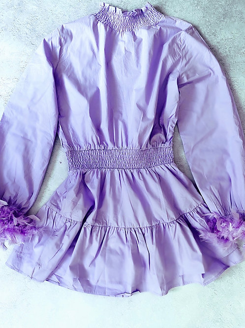 The lilac feather high neck dress