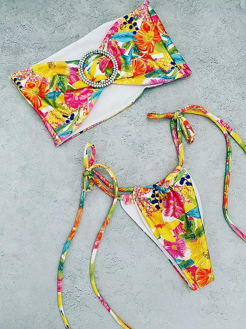 Ready to ship tropical diamanté bikini