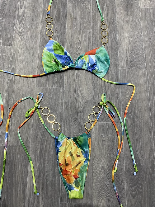 The triangle chain 80s floral bikini