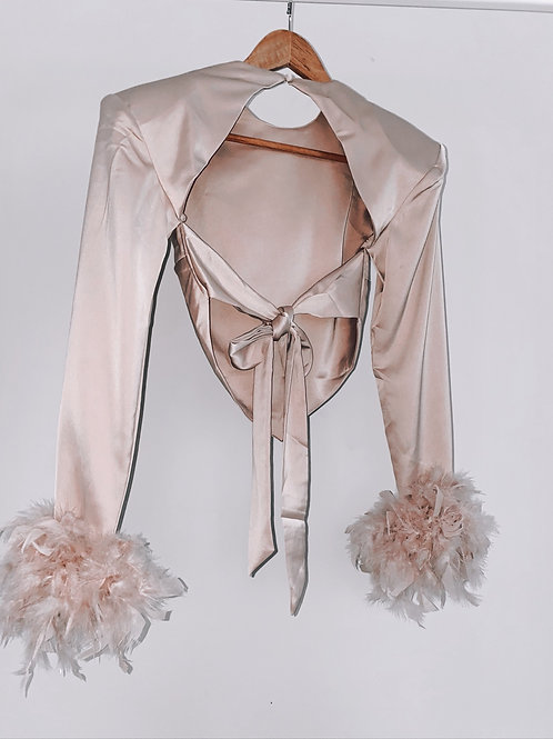 The feather satin blouse