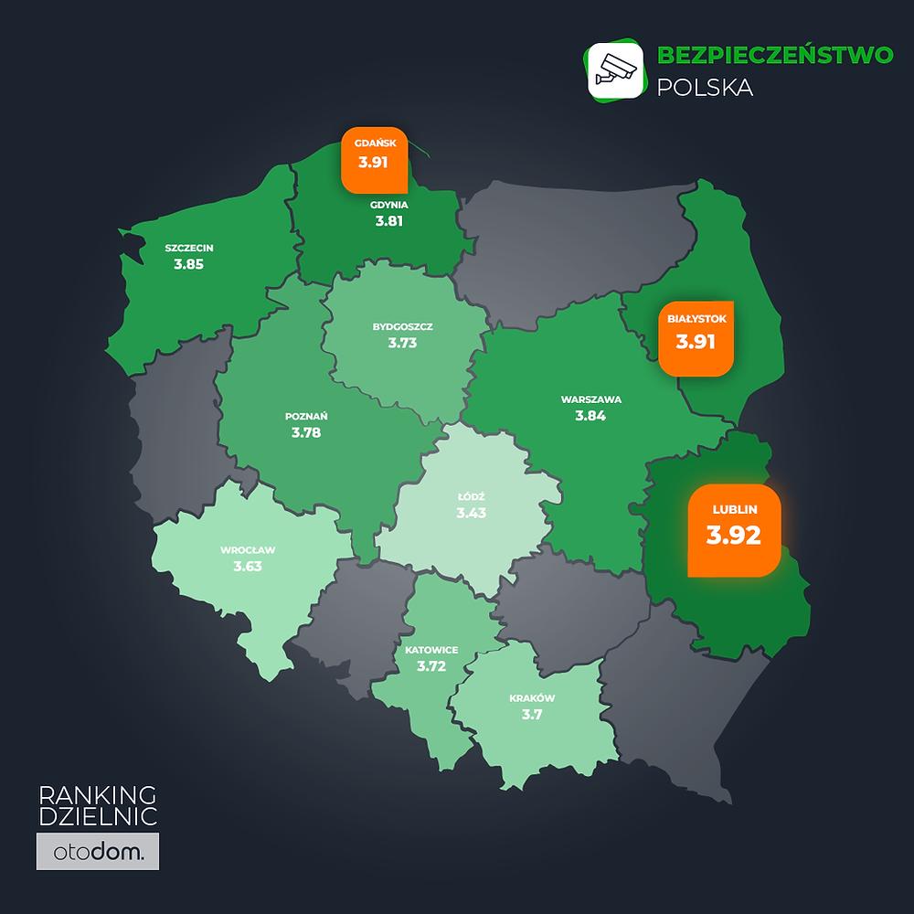 Mapa Polski z podziałem na województwa i najbezpieczniejsze miastaw w Polsce wg badania Otodom.