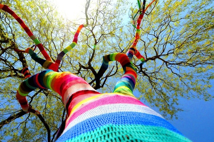 A tree wraped up in the colorful wool.
